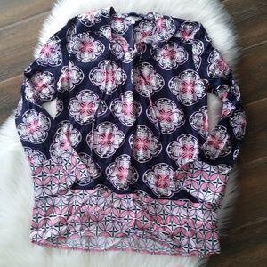 B2G1 Crown & Ivy Pink/Navy Boho Bell Sleeve Tunic
